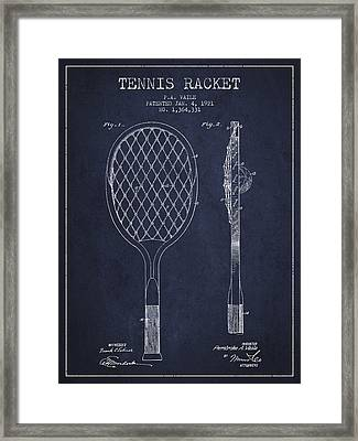 Vintage Tennnis Racket Patent Drawing From 1921 - Navy Blue Framed Print by Aged Pixel