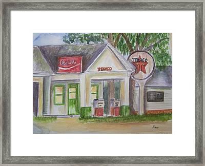 Vintage Texaco Gas Station Framed Print