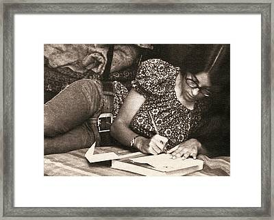 Vintage Young Woman Writing  Framed Print