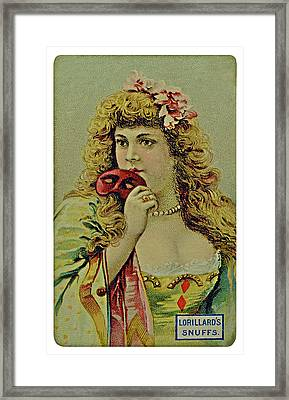 Vintage Tobacco Or Cigarette Card Framed Print by Susan Leggett