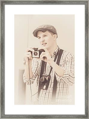Vintage Tourist Taking Photograph Souvenirs Framed Print by Jorgo Photography - Wall Art Gallery