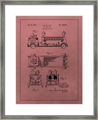 Vintage Toy Fire Truck Patent Framed Print