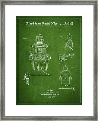 Vintage Toy Robot Patent Drawing From 1955 - Green Framed Print by Aged Pixel
