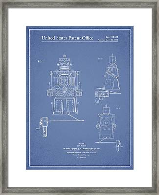 Vintage Toy Robot Patent Drawing From 1955 - Light Blue Framed Print by Aged Pixel