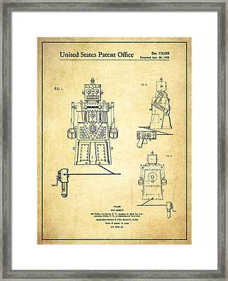 Vintage Toy Robot Patent Drawing From 1955 - Vintage Framed Print by Aged Pixel