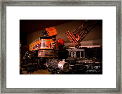 Vintage Toy Trains Framed Print by Amy Cicconi