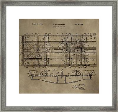 Vintage Train Car Patent Framed Print by Dan Sproul