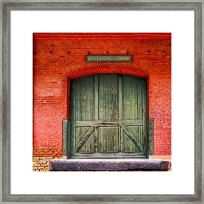 Vintage Train Depot Receiving Door - Augusta Framed Print