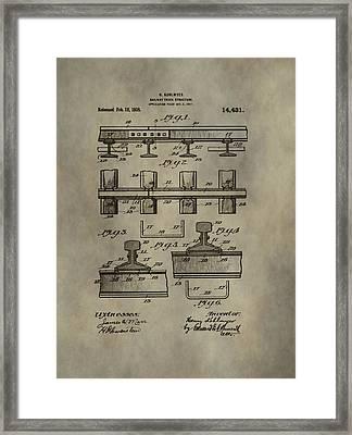 Vintage Train Track Patent Framed Print
