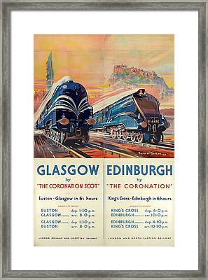 Vintage Train Travel - Glasgow And Edinburgh Framed Print
