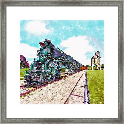Vintage Train Watercolor Framed Print
