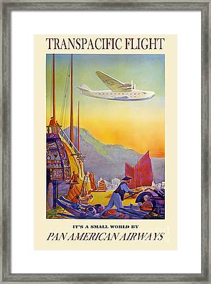 Vintage Transpacific Flight Travel Poster Framed Print by Jon Neidert