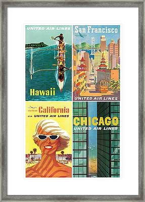 Vintage Travel - United Airlines Framed Print by Georgia Fowler