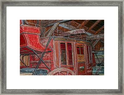 Vintage Travel Coach For The Highland And Alpine Route Framed Print by Patricia Hofmeester