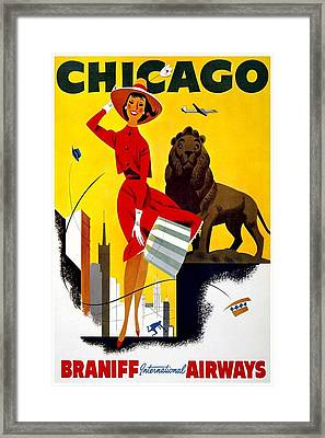 Vintage Travel Poster - Chicago Framed Print by Georgia Fowler