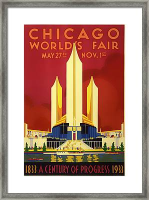 Vintage Travel Poster - Chicago World's Fair 1933 Framed Print by Mountain Dreams