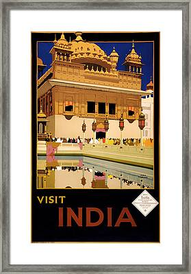 Vintage Travel Poster - Visit India 1935 Framed Print by Mountain Dreams