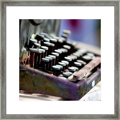 vintage Typewriter Framed Print by Art Block Collections