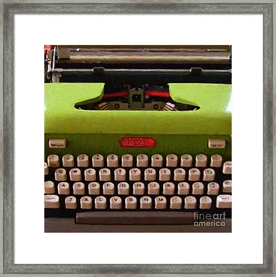 Vintage Typewriter - Painterly - Square Framed Print