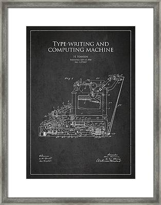 Vintage Typewriter Patent From 1918 Framed Print