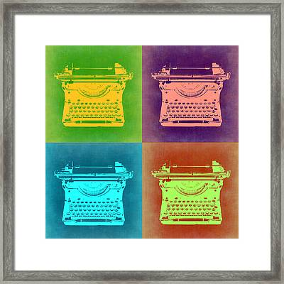 Vintage Typewriter Pop Art 1 Framed Print by Naxart Studio