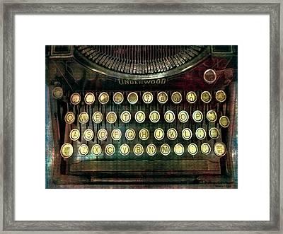 Vintage Underwood Typewriter Framed Print by Bellesouth Studio