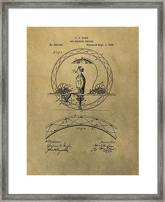 Vintage Unicycle Patent Framed Print by Dan Sproul
