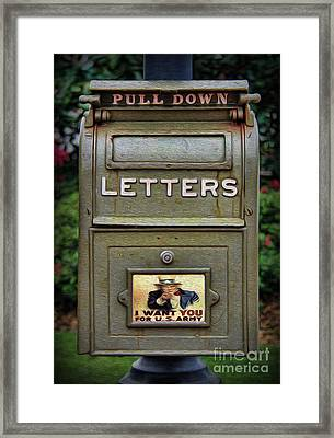 Vintage Us Mailbox II Framed Print by Lee Dos Santos