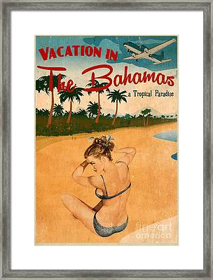 Vintage Vacation Ad Framed Print