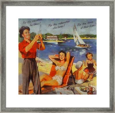 Vintage Vacation Poster Framed Print by Dan Sproul