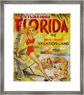 Vintage Vacation Poster Florida Framed Print