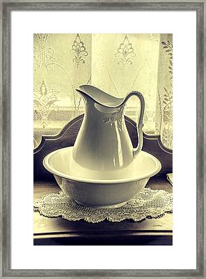 Vintage Vase And Basin Framed Print by Julie Palencia