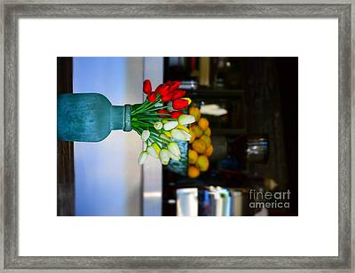 Vintage Vase And Rose Framed Print by Bobby Mandal