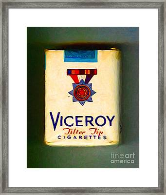 Vintage Viceroy Cigarette - Painterly Framed Print by Wingsdomain Art and Photography