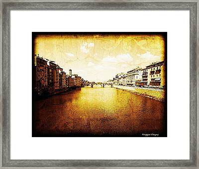 Vintage View Of River Arno Framed Print