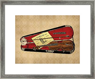 Vintage Violin Illustration Framed Print by Flo Karp