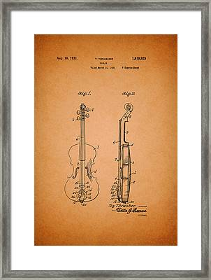 Vintage Violin Patent Framed Print by Mountain Dreams