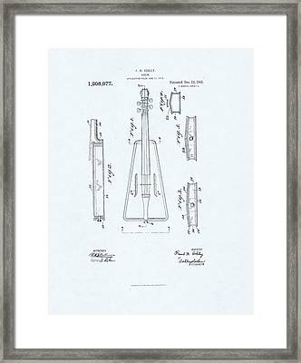 Violin Patent Drawing On Blue Background Framed Print by Steve Kearns