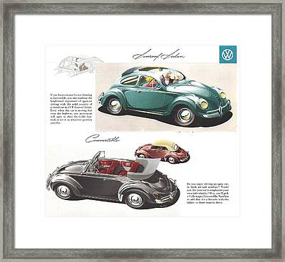 Vintage Volkswagen Advert 1958 Framed Print by Georgia Fowler