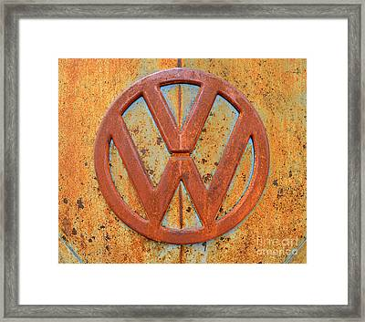 Vintage Volkswagen Bus Logo Framed Print by Catherine Sherman
