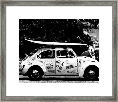 Vintage Vw Bug Ready To Surf Framed Print by Retro Images Archive