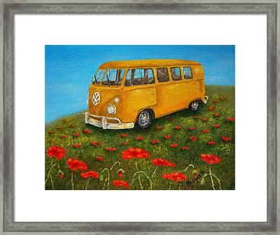 Vintage Vw Bus Framed Print by Pamela Allegretto