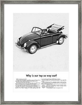 Vintage Vw Convertible Advert Framed Print by Georgia Fowler