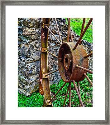 Vintage Wagon Wheel Gate Framed Print by Sandi OReilly
