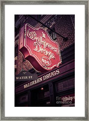 Vintage Walgreen Drugs Store Neon Sign Framed Print by Edward Fielding