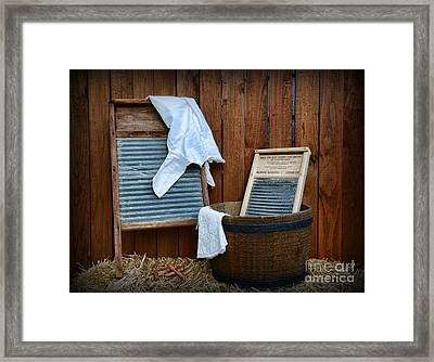 Vintage Washboard Laundry Day Framed Print