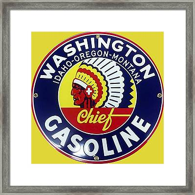Vintage Washington Gasoline Metal Sign Framed Print