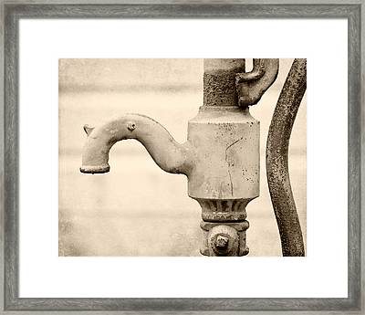 Vintage Water Pump Faucet In Sepia Framed Print