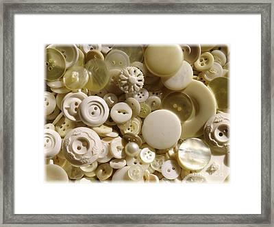 Vintage White Buttons Framed Print