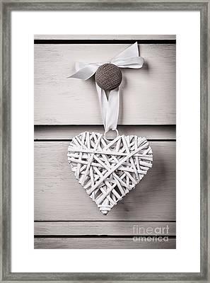 Vintage Wicker Heart Framed Print by Jane Rix